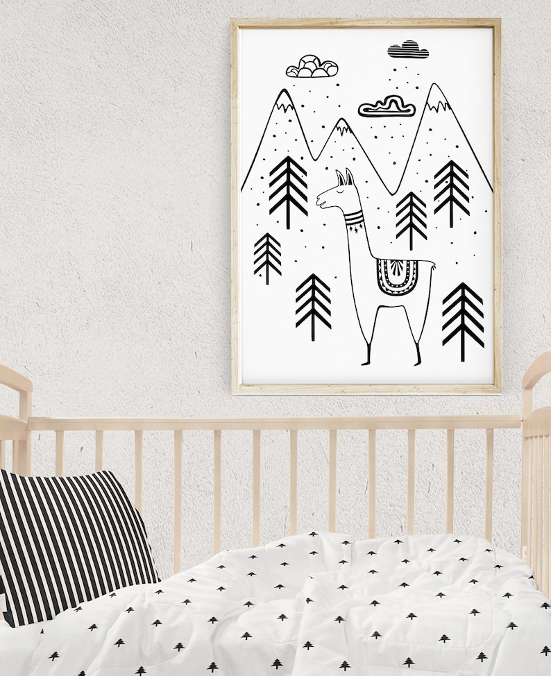 Cute LLAMA Baby Room Decor Black and White Llama Nursery Wall image 0