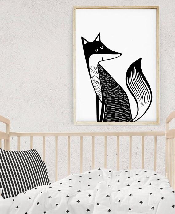 Modern Nursery, Crib Decor, Baby Gift, Cute Animals Print, Printable  Nursery Wall Art, Fox Print Art, Nursery Forest Animals, Nursery Fox
