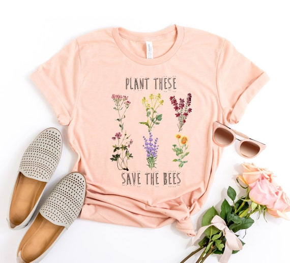 Plant These Save The Bees Shirt, Wildflower Shirt, Save The Bees Shirt Botanical T Shirt Gardener Shirt Bee Farmer Shirt Vintage Wildflowers by Etsy