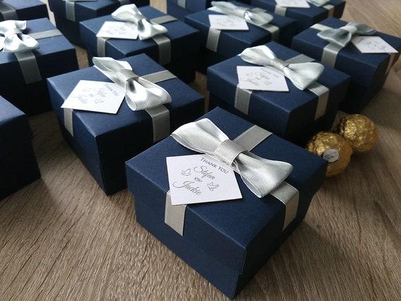 Navy Blue Box Personalized Wedding Favor Candy Box Wedding Etsy