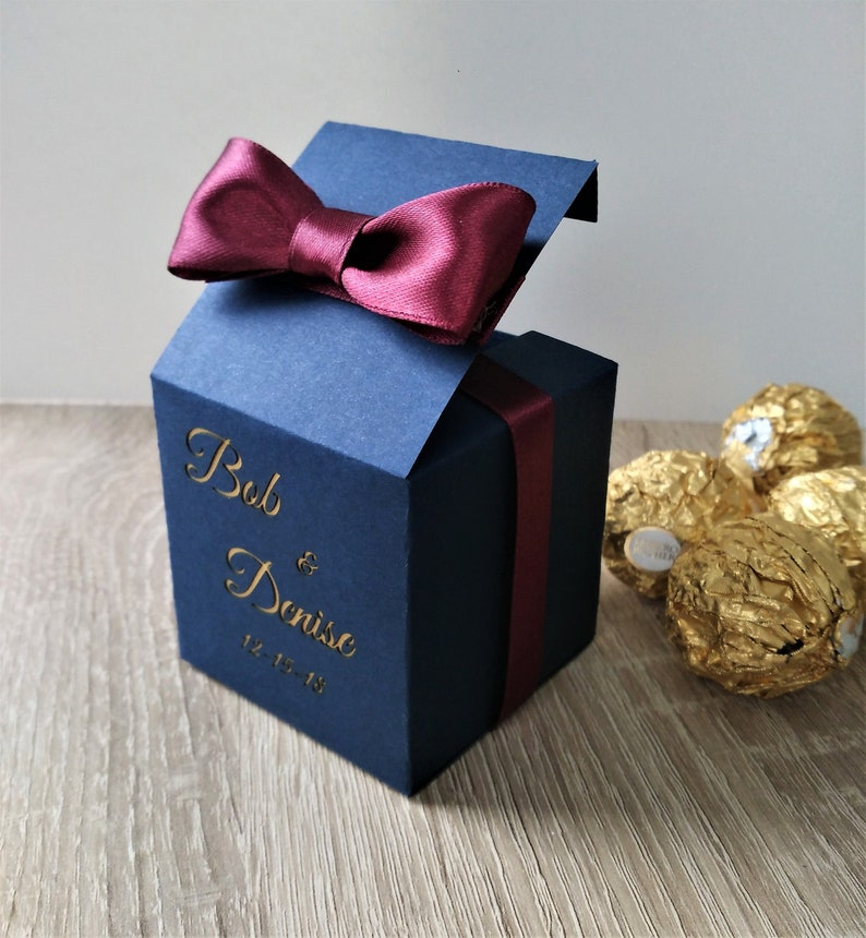 50 Navy Gold Favor Boxes Personalized Wedding Favor Candy Box Wedding Candy Box Wedding Favor Boxes Navy Gold Boxes Gift Box