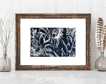 Tropical Wall Art Lino Print Forest Linocut Santo Domingo Linoprint Dominican Republic Woodcut Caribbean Linogravure