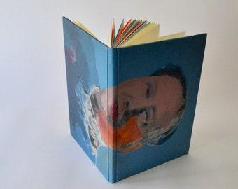 Handmade Notebook, blue, orange, Warhol cover