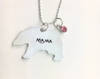 Mama Bear Necklace, Gift for Mom, Mothers Day, New Mom Gift, Mom to be, Bear Necklace, Mom Necklace, Mommy Necklace, Birthstone Necklace