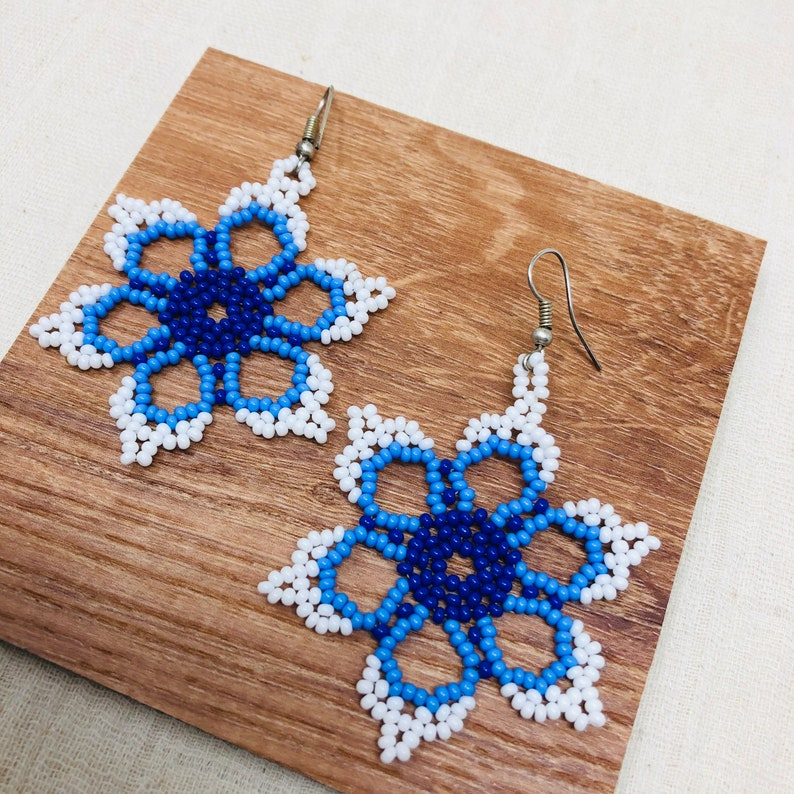 boho earrings Boho Huichol artisan floral seed beaded earrings festival earrings