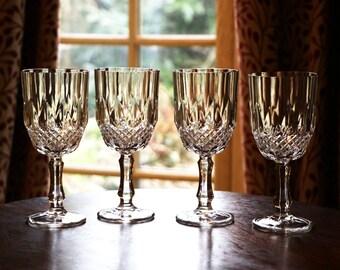 687c3895245 Set of four vintage wine glasses  hobnail pattern  moulded glass  four wine  goblets  set of wine glasses  drinking glasses  drink glasses C3