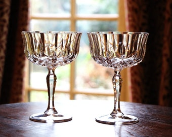 f7bfc0ab7db7 Gorgeous pair vintage champagne or wine glasses  lead crystal