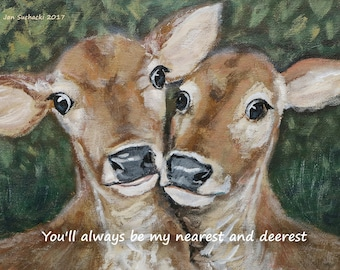 Romantic canvas print of two deer, from an original, ideal wedding gift or anniversary gift; a romantic present for the one you love!