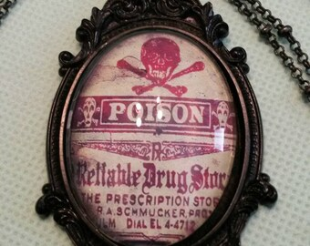 Victorian Poison label cameo - ornate black frame pendant necklace