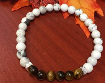 Tigereye and white marble Womens bracelet