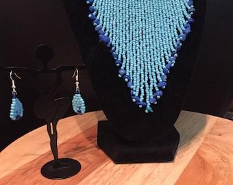 Aqua and blue fringe necklace set