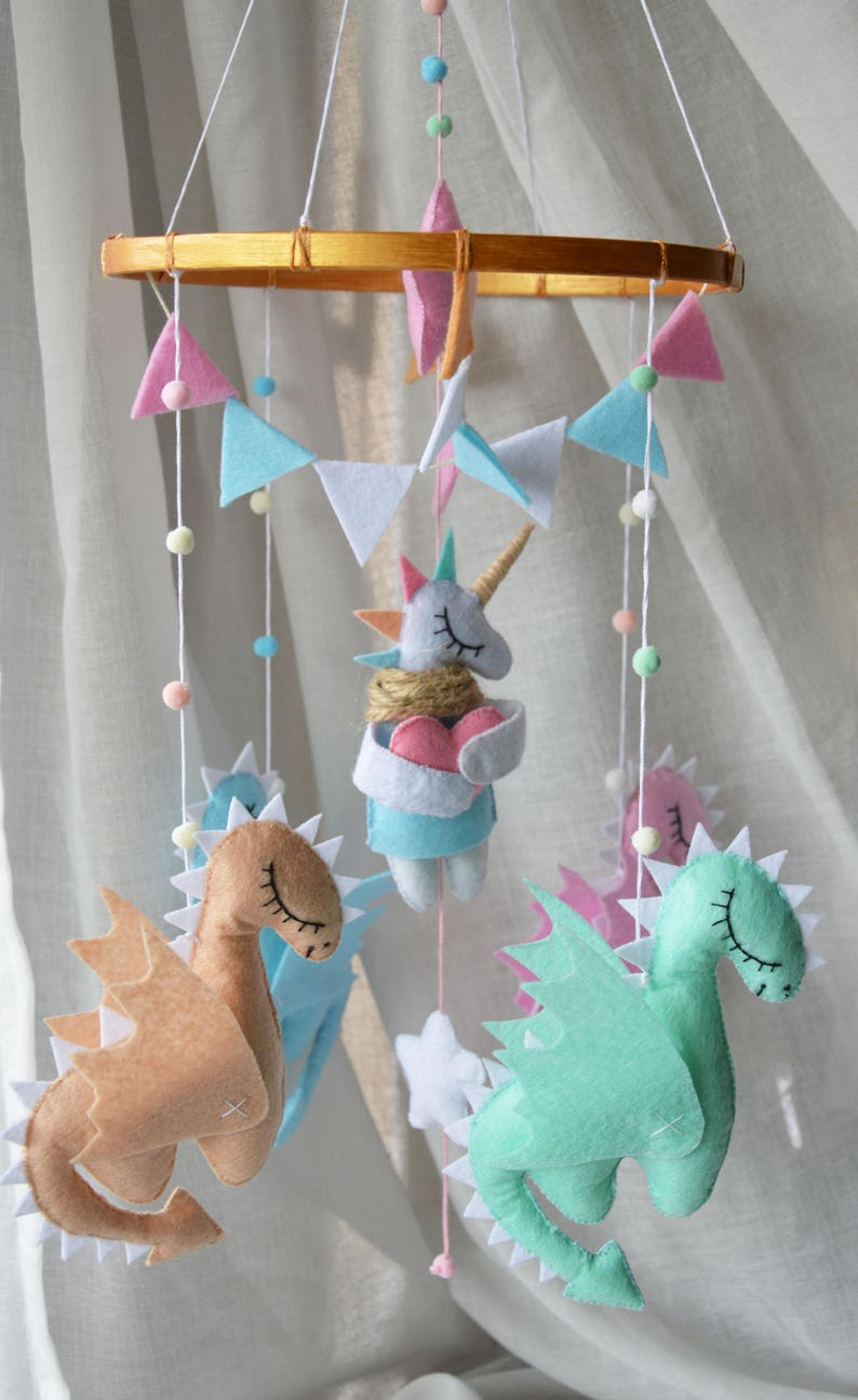Pastel Baby Mobile Dragons Mobile Mother Of Dragons Game Of Thrones Baby Shower Unicorn Mobile Felt Toy Wool Dragon Nursery Mobile Baby Crib