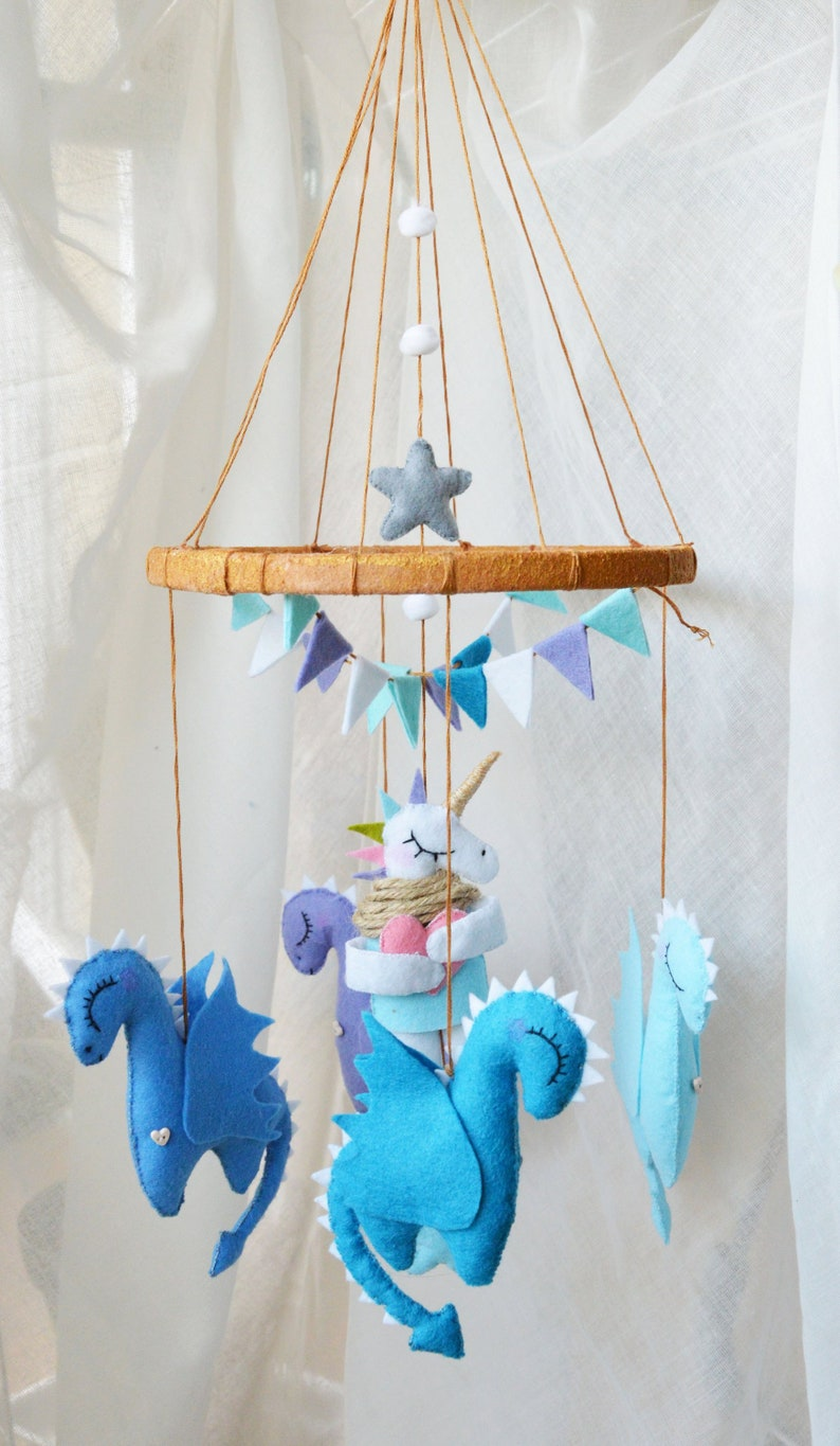 Mythic Animals Baby Mobile Blue Dragons Mobile Mother Of Dragons Game Of Thrones Gift Unicorn Mobile Felt Dragon Nursery Mobile Baby Crib