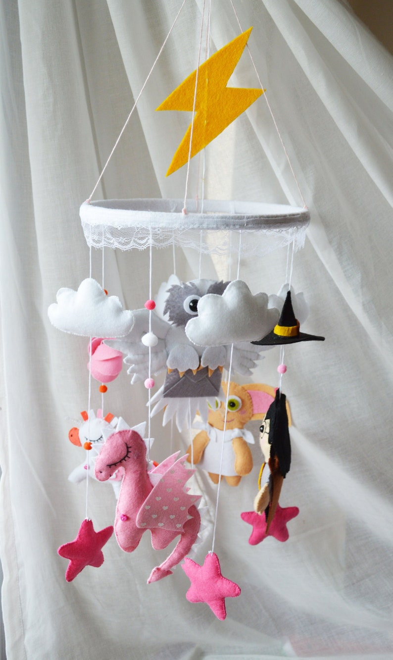 Baby Mobile Owl Dobby Dragon Mobile Unicorn Mobile Dragon Felt Toys Nursery Mobile Baby Crib Magic Present For A Girl Baby Shower