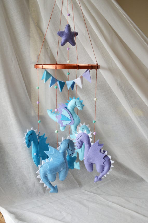 Dragons Blue Gold Baby Mobile Dragons Mobile Mother Of Dragons Game Of Thrones Baby Shower Mobile Felt Toy Dragon Nursery Mobile Baby Crib