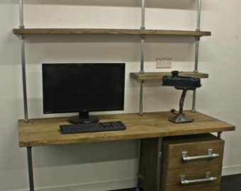 office desk with shelf.  Desk Office Desk Industrial Design Reclaimed Scaffolding Board Desk Shelf And  3 Drawer Unit To Desk With N