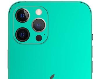 Matte Chrome Green Azure Skin for iPhone - Skin Wrap Decal for iPhone 12 Pro Max, iPhone 12 Mini, iPhone 11 Pro Max, Xs, X, XR, 8 Plus