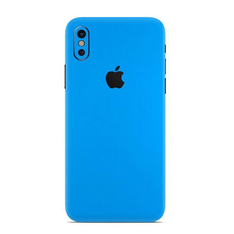 finest selection b22f0 54ab4 Blue Matte Skin for iPhone - Skin Wrap Decal for iPhone XS, iPhone XS Max,  xr, 10, iPhone 8 Plus, iPhone 8, iPhone 7, 6, 6 Plus, SE, 5, 4