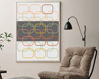 Modern Abstract Design, Geometric Print, Colorful Wall Decor, Living Room Home Decor, Large Poster Size Art