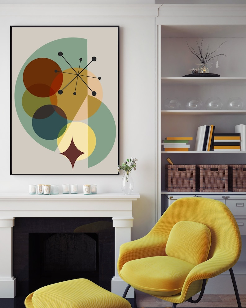 Mid Century Modern 1950s Style Vintage Art Print Home Decor Wall Art Poster Home Garden Home Decor Posters Prints
