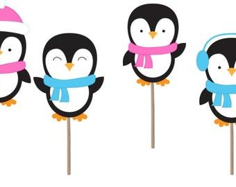 Penguin Gender reveal, gender reveal party, Waddle it be gender reveal, penguin cupcake toppers, penguin baby shower, gender reveal