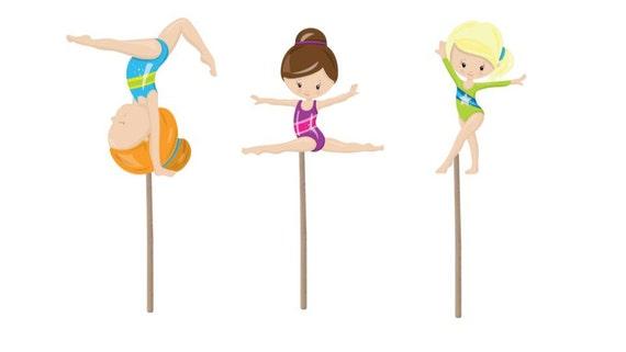 Gymnastics Cupcake Topper Birthday