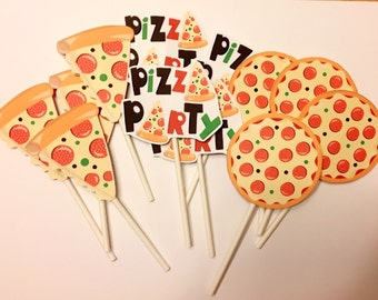 Cupcake Topper, Birthday cupcake topper, Pizza cupcake topper, birthday party, Pizza party, Pizza decor, Party supplies, party decorations
