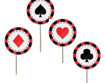 Casino Theme party, Casino cupcake toppers, Casino food picks, Vegas toppers, Casino birthday, Vegas theme, Casino theme, Vegas party, Vegas