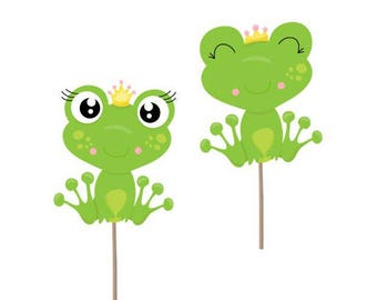 Frog cupcake toppers, Frog picks, Frog decorations, Frog cake topper, Frog theme, Frog baby shower, girl baby shower, Frog party supplies