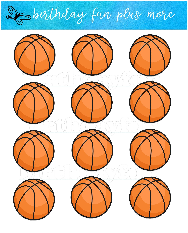 Printable Basketball Cupcake Topper Basketball Instant Etsy