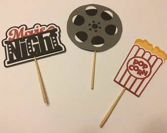 Cupcake Topper, Movie night cupcake topper, Movie Cupcake decoration, cake decoration, Movie theme decorations, party supplies, cake toppers