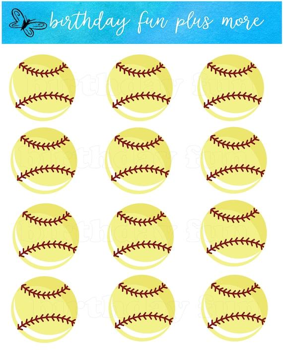 photo about Printable Softball known as SOFTBALL Cupcake toppers PRINTABLE, electronic softball rounds, fast obtain printable softball, softball social gathering, softball decorations,