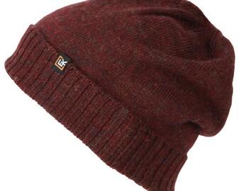100% Wool Classic Beanie Hat (Burgundy) 9f93b7f8f2f0