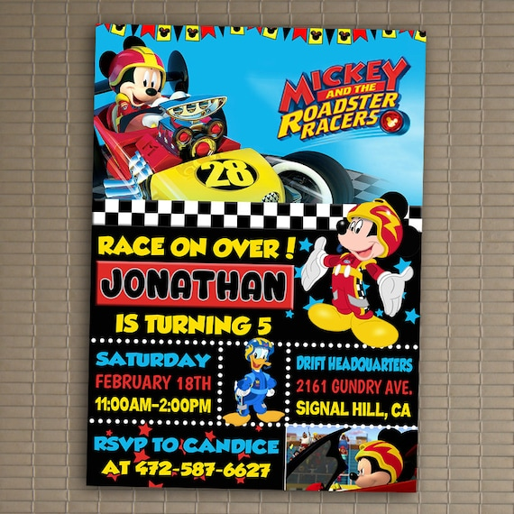 mickey and the roadster racers invitation you print etsy