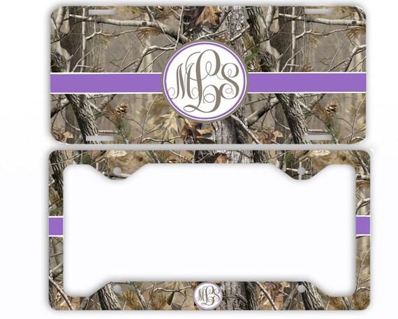Purple Ribbon Camo License Plate Frame Car Tag Monogrammed | Etsy