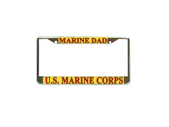 Us Marines Dad Chrome Metal License Plate Frame Car Tag Holder Etsy