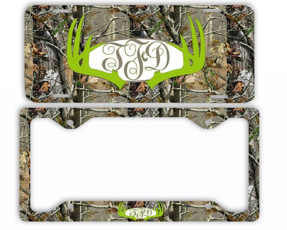 Green Deer Antlers Camo License Plate Frame Car Tag Etsy