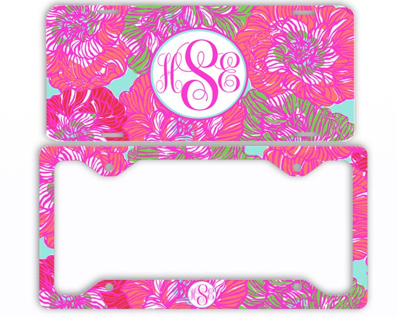Personalized Monogrammed License Plate Frame Rear Pink Paisley Floral Monogram