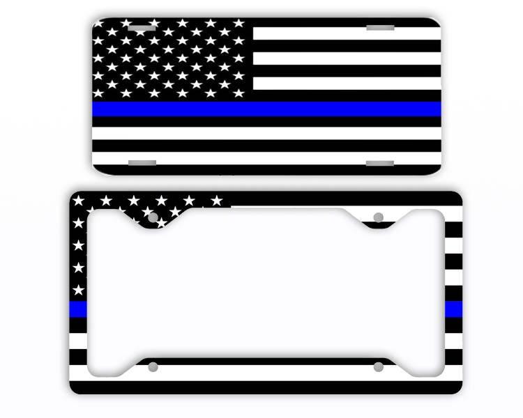 Thin Blue Line Flag American License Plate Car Tag Frame | Etsy