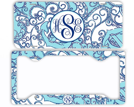 Blue Anchors Paisely Monogram License Plate Car Tag Frame   Etsy