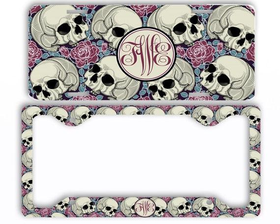 Sugar Skulls Roses License Plate Frame Car Tag Monogrammed | Etsy