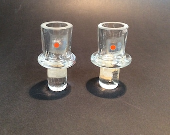 Pair of Blenko candle holder drop in inserts 879Z