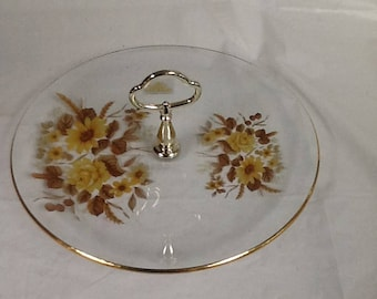 Viking Glass tid bit tray D2012YF yellow floral pattern with gold trim around edge