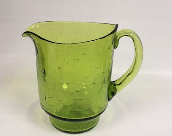 Blenko Glass pitcher 7015S in olive green crackle, John Nickerson design