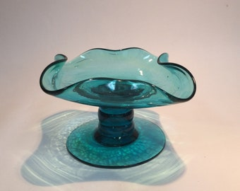 Bischoff Glass hand blown footed candle plate #401 teal