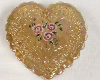 Fenton Glass heart shaped trinket box, iridescent amber with painted flowers