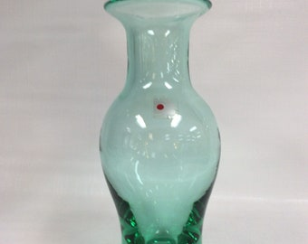 Blenko Glass 8418L vase in antique green Don Shepherd design