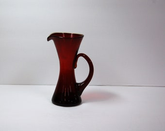 """Rainbow Glass Company hand blown ruby red 5-1/2"""" pitcher"""