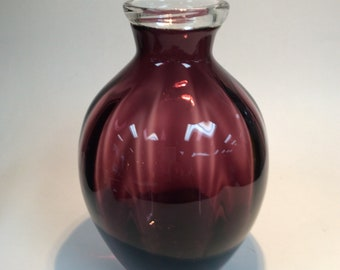 Blenko Glass 9613 optic vase, amethyst with applied crystal trim