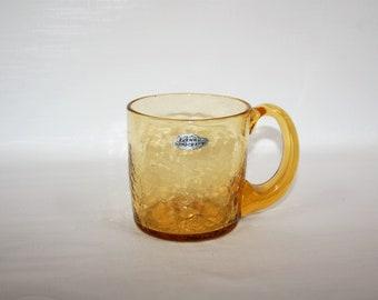 Blenko Glass Wheat Crackle Glass Giant Mug